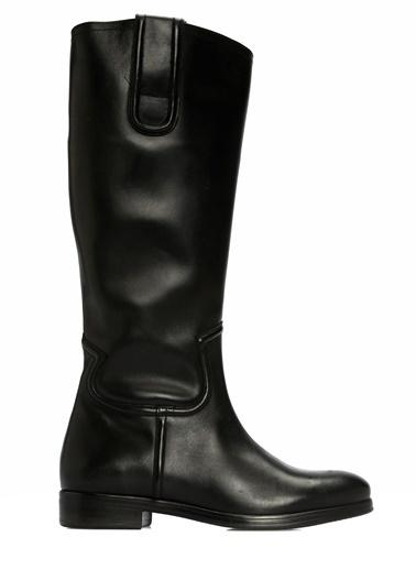 Divarese Deri Çizme Siyah